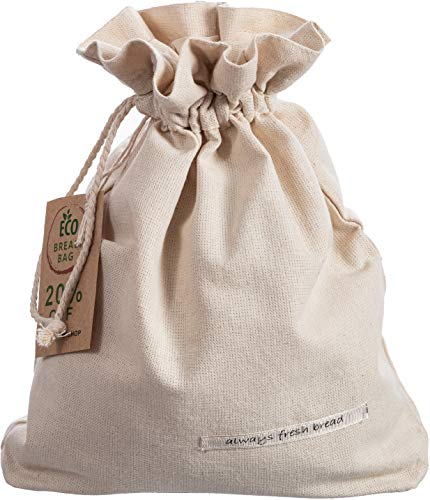 Goodleks Patented Cotton Bread Bag, Reusable Bread Bags for Homemade Bread Large, Natural Organic Canvas Bread Storage Bags