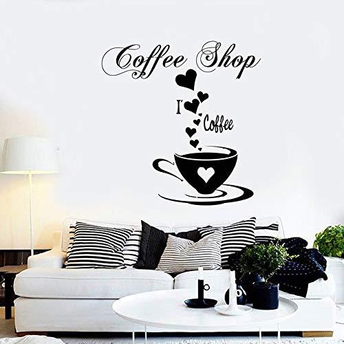mlpnko Café Vinilo Etiqueta de la Pared Cotizaciones Cocina Etiqueta de la Pared Arte Pegatina para Cocina decoración PVC material-42x42cm