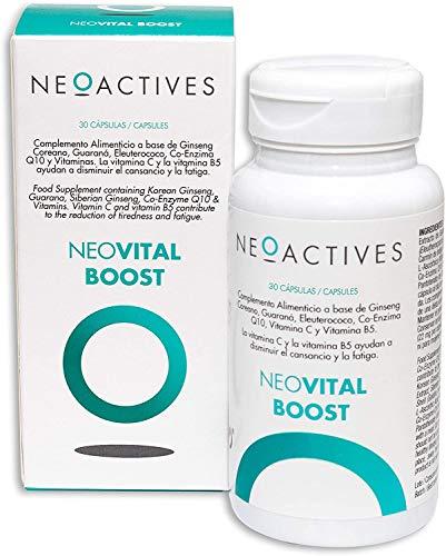 Neoactive NeoVital Boost, Ginseng coreano, eleuterococo, guaraná, vitamina C y Vitamina B5, Ayuda a disminuir el cansancio y la fatiga, Complemento concentrado, solo 1 capsula día, 30 Capsulas