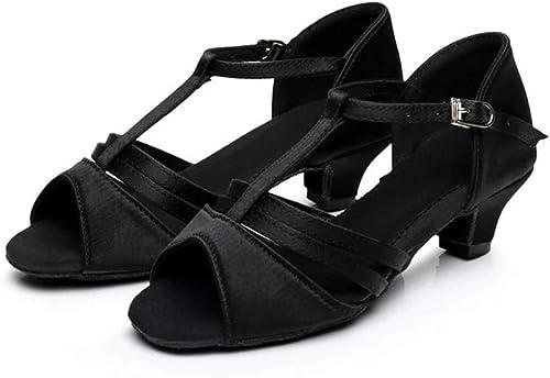 XIE66 Semelle intermédiaire Entre Filles européennes et américaines de 4 cm avec des Chaussures de Danse Latine à Fond Mou (Couleur   Noir, Taille   29)