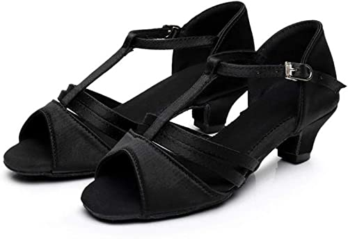 Semelle intermédiaire Entre Filles européennes et américaines de 4 cm avec des Chaussures de Danse Latine à Fond Mou (Couleur   Noir, Taille   31)