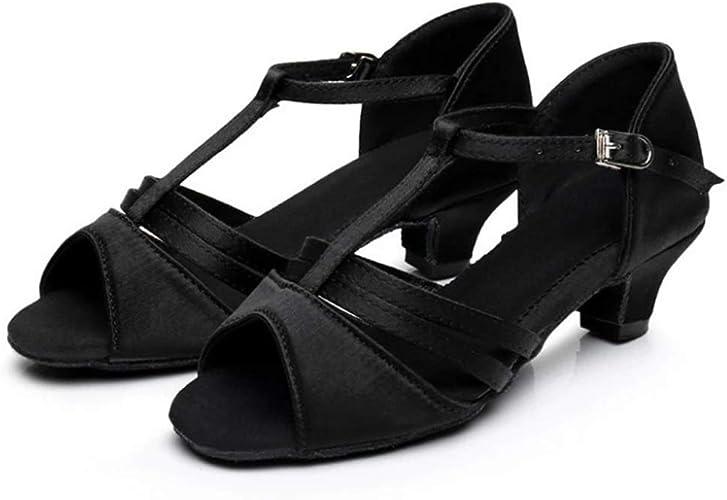 XIE66 Semelle intermédiaire Entre Filles européennes et américaines de 4 cm avec des Chaussures de Danse Latine à Fond Mou (Couleur   Noir, Taille   40 EU)