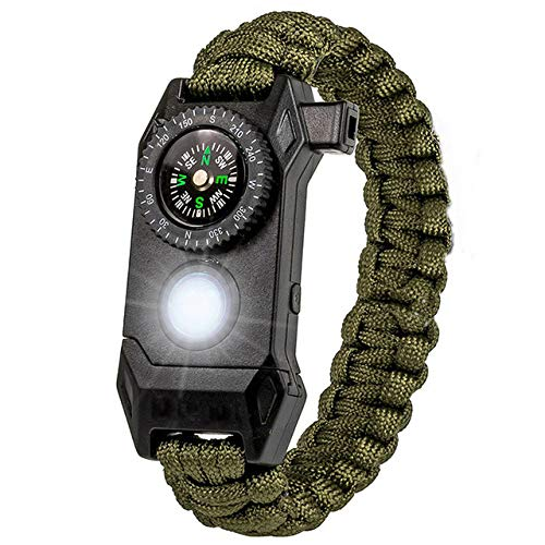 ZYJ Männer Outdoor LED Licht Survival Armband Emergency Rescue Armband Compass Sport Whistle Bracelets | Charm Bracelets |,ArmyGreen
