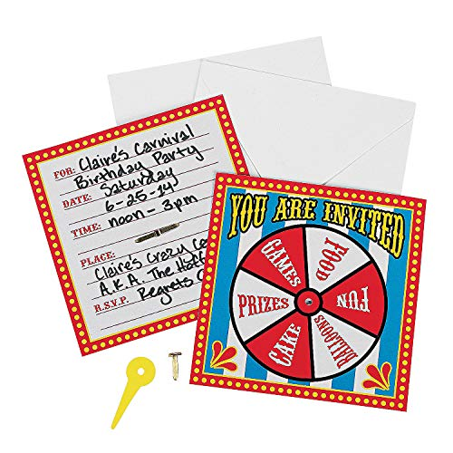 Fun Express Carnival Spinner Invitations Party Accessory, 12 Count