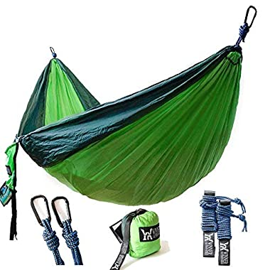 Winner Outfitters Double Camping Hammock - Lightweight Nylon Portable Hammock, Best Parachute Double Hammock For Backpacking, Camping, Travel, Beach, Yard. 118 (L) x 78 (W), Dark Green/Green Color