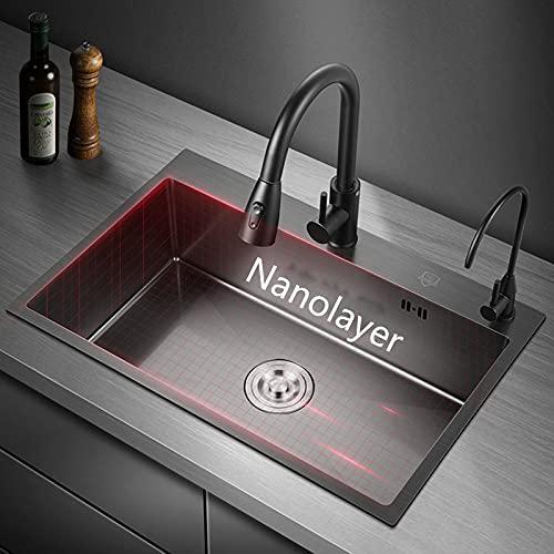 Fregadero de cocina, fregadero nano hecho a mano de acero inoxidable negro, instalación empotrada, gran capacidad,...