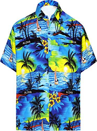 LA LEELA  männer Hawaiihemd Kurzarm Button Down Kragen Fronttasche Beach Strand Hemd Manner Urlaub, M, Blau_w31