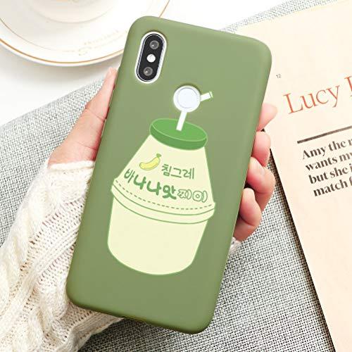 Pnakqil Funda Xiaomi Redmi Note 7 Silicona con Dibujos Suave Carcasa Color Ultra Fina y Ligero [Antigolpes] Gel TPU Piel Caso Goma Protectora Cover para Xiaomi Redmi Note7, Beber - Verde Pastel