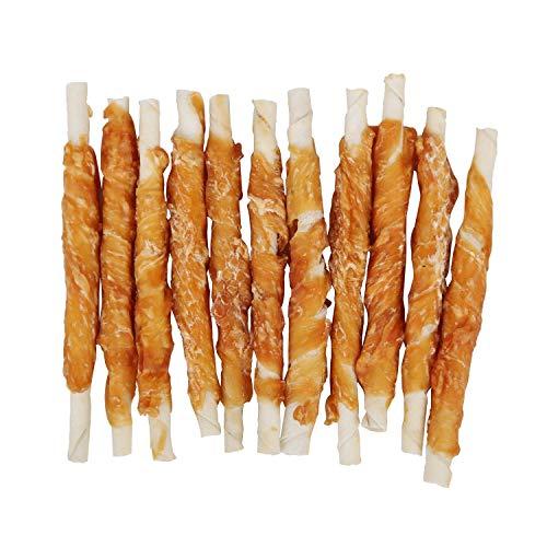 Nobleza - 600g Snack Perro Palitos de Piel de Buey Enrollados con Pollo Deshidratado, Ricos en Proteínas y Bajos en Grasas - 12cm