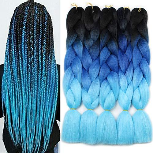 Xtrend 5Pcs 3 Tone Kanekalon Jumbo Braiding Hair 24 Inch Synthetic Afro Braiding Hair Extensions for Box Braids and Twist Crochet Braid Hair 100g/pc (5 Pieces, Black/Dark Blue/Light Blue#)