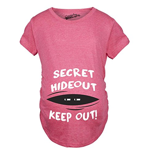 Crazy Dog Tshirts - Maternity Secret Hideout Baby Peeking Maternity Shirt Funny Pregnancy Shirts (Pink) - 3XL - Femme