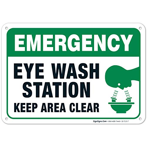 Eye Wash Station Sign, Emergency Sign, 10x7 Rust Free Aluminum, Weather/Fade Resistant, Easy Mounting, Indoor/Outdoor Use, Made in USA by SIGO SIGNS