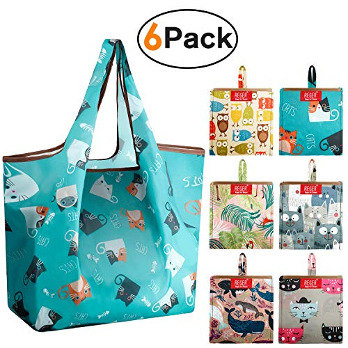 Reusable-Grocery-Bags-Shopping-Foldable Bags Tote Bag Large 50LBS Reusable Bag Groceries Totes With Square Pouch Bulk 6 Pack Eco-Friendly Ripstop Fabric Washable Light Weight Dog Cat Flamingo Owls