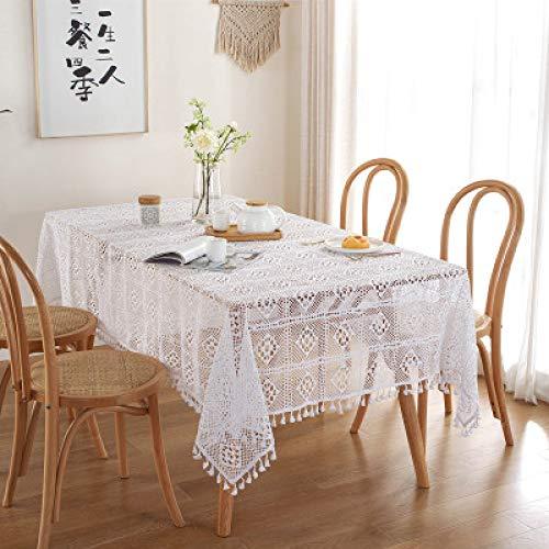 Pastorale À La Main Crochet Tricoté Nappe Creuse Polyester Dentelle Gland Tapis De Table Rectangulaire Maison Table Basse Nappe