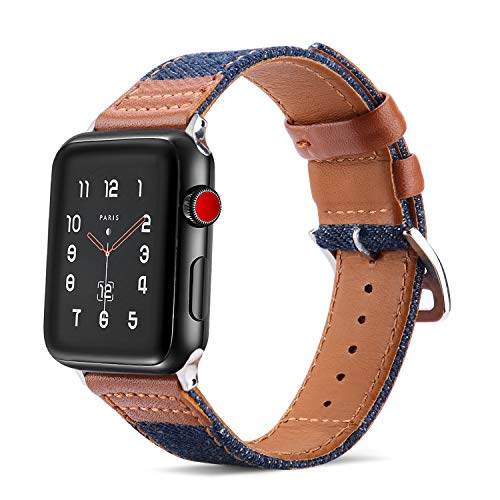 Tasikar - Correa de repuesto compatible con Apple Watch de 38 mm, 40 mm, diseño de vaquero híbrido de piel auténtica compatible con Apple Watch Series 5/4/3/2/1
