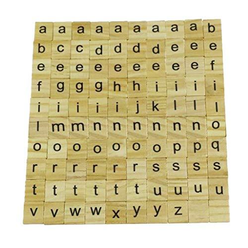 Amandaz 100 Stück Scrabble Buchstaben Holz Buchstabe Fliesen zum Spielen, Lesen für Vorschule Kinder Bildung ,DIY Handwerk Dekoration
