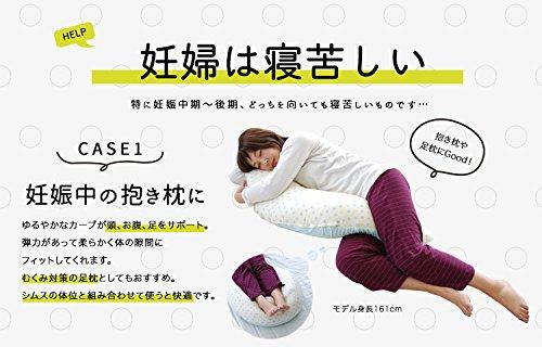 『サンデシカ 妊婦さんのための 洗える抱き枕 ポリエステル綿 【日本製】 ミントドット M 4251-8888-54』の2枚目の画像