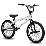 Hiland 20 Inch Kids Bike for Boys BMX Freestyle Bicycle White Blue