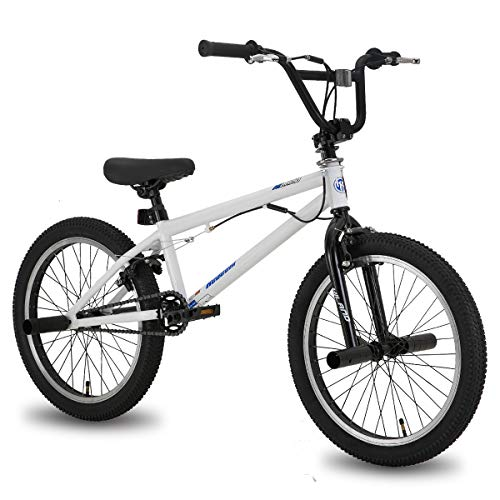 Hiland 20 Inch Kids Bike BMX Bicycles Freestyle for Boys Teenagers White Blue
