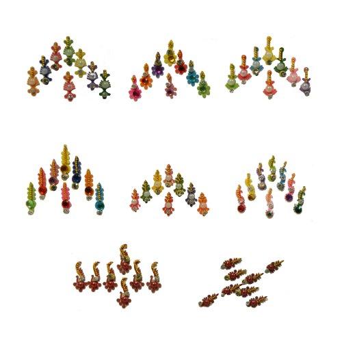 Bindis 8 tarjetitas joyas para la frente de pega Bollywood India joyas estilo