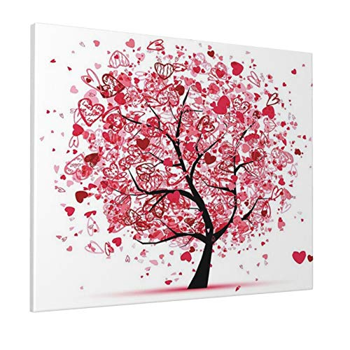 """Tree of Life Decor Collection Ornate Valentine Tree with Swirling Hearts Doodles Love Future Couple Decorative Red Blackpainting 16"""" X 20"""" Panoramic Canvas Wall Art"""