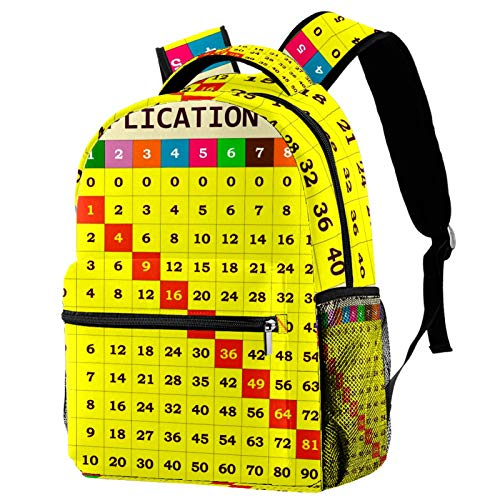 Printing Backpack for Girl Boy College School Travel Bookbag Lightweight Students Multiplication Table Template Camping Daypack