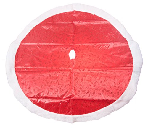 Red Sparkled Swirls Holiday Christmas Tree Skirt - 47.2 Inch