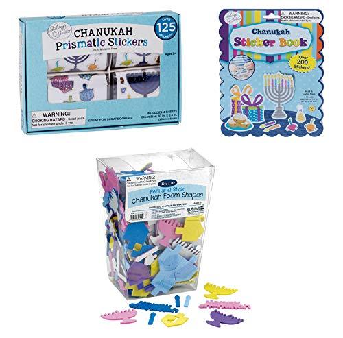 Hanukkah Sticker Gift Set - Over 600 Stickers - Chanukah Prismatic Stickers, Chanukah Sticker Book and Happy Hanukkah Foam Shapes(Dreidels, Menorrahs, Candles, etc.)