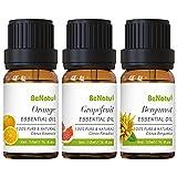 Essential Oils Set (Sweet Orange, Grapefruit, Bergamot) for Soap Making, Body Massage, Aromatherapy - Pure Citrus Scent Diffuser Oil for Home - by benatu
