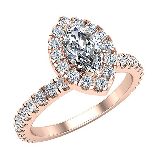 Glitz Design Mujer Niños Hombre Unisex Plat-950 platino marquesa Round Brilliant Diamond