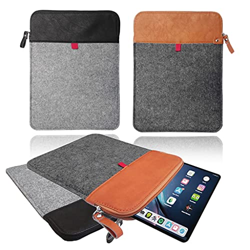 Vertical Felt & Leather sleeve with ZIP, Carrying Case, Cover for Apple iPad 8th Generation (2020) [Black & Light Grey]