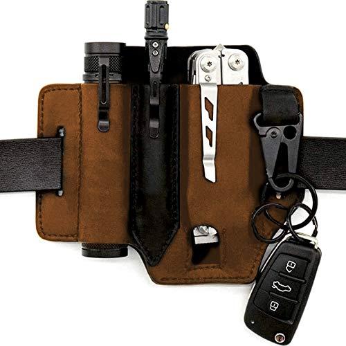 Leather Multitool Leather Sheath, EDC Pocket Organizer - High Leather Quality, Multitools Holder Knife Pocket Organizer Leather Belt Pouch with Key Holder(Brown)