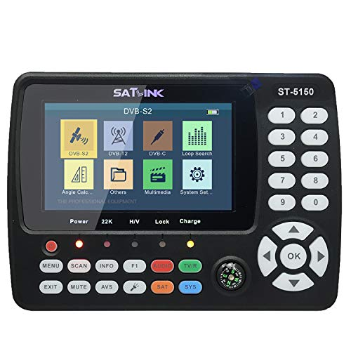 KKmoon ST-5150 Digital Satellite Finder DVB-S2/T2/C COMBO HD Satellite TV Signal Finder Digital Handheld Signal Meter H.265 HEVC MPEG-4 con 4,3 pollici TFT LCD,Custodia Protettiva,7,4 V / 2600 mAh