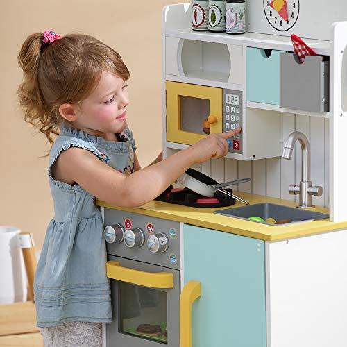 Teamson Kids TD-11708AR Florence en Bois Jeu de Cuisine, Blanc/Vert et Jaune