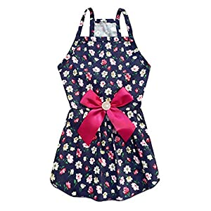 MSNFOASM Puppy Dog Halter Dress,Cute Floral Princess Sling Skirt with Ribbon for Small Dogs Cats for Summer (Rosered M)