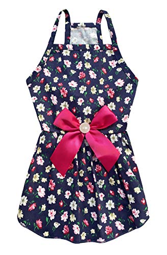 MSNFOASM Puppy Dog Halter Dress,Cute Floral Princess Sling Skirt with Ribbon for Small Dogs Cats for Summer (Rosered S)