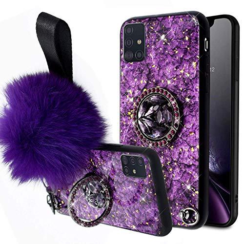 Uposao Kompatibel mit Samsung Galaxy A71 Marmor Hülle mit 360 Grad Ring Ständer Glänzend Glitzer Strass Diamant TPU Silikon Handyhülle für Mädchen Frauen Ultradünn Weich Hülle Tasche,Lila