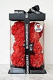 Bloomingbears Ours Rose - Ours en Roses - Ours en Fleurs - Ours en Peluche - Saint Valentin - Fête des Mères - Cadeau - 25 cm avec Paquet Cadeau et Carte de voeux de