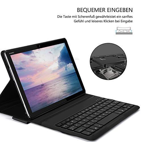 Jelly Comb Huawei MediaPad M5 Lite 10.1 Beleuchtete Tastatur Hülle, QWERTZ Bluetooth Tablet Tastatur mit Ultraslim Schützhülle für Huawei MediaPad M5 25,54cm (10,1 Zoll) mit 7-farbigen Beleuchtung - 5