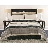 Full Size Comforter Set Masculine Stripes Beige Gray Tan Bedding