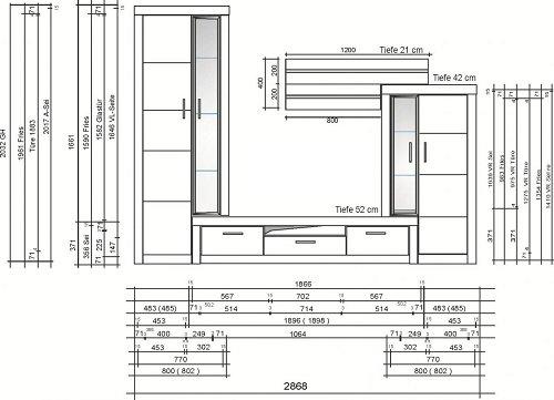 3.3.2.4.3099: schöne Wohnwand in Kernbuche teilmassiv – Wohnzimmerscherank Kernbuche teilmassiv - 3