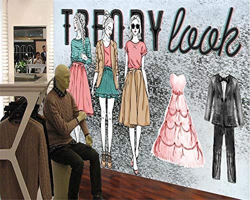 Papier peint Rétro Nostalgie Mode Beauté Magasin de vêtements Fond Mur Salon Chambre Murale 3d papier peint(À partir de 1 mètre carré)-1㎡