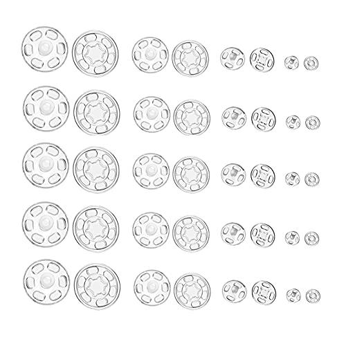 CHMYY 100 Pares Transparentes Botones de Plástico,Botones Invisibles De Presión para Arte De DIY Accesorios De Costura,7,5 mm, 11,5 mm, 15 mm, 20 mm