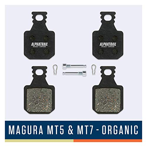 Alphatrail Bremsbeläge - Magura Typ 8 MT5 & MT7 I Organischer MTB Bremsbelag mit hoher Bremskraft & Laufleistung I 100% Passgenau für Fahrrad Scheibenbremse von Magura MT5 Magura MT7