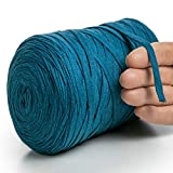 MeriWoolArt Baumwollgarn für Stricken, Makramee, Häkeln, Weben, Geschenkband für Weihnachten - 10 mm Textilgarn, 150 m T-Shirt Garn - Neue Qualität (Ozean)