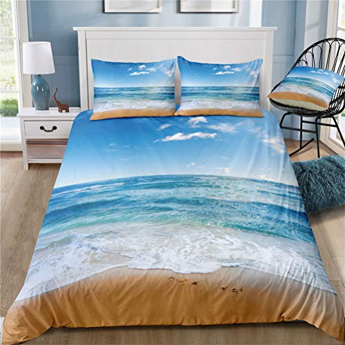 Verano Océano Paisaje de Playa Azul Funda Nórdica Sol Luna Natural Paisajes Resort Cocotero Cielo Nubes Blancas Mar Ola Ropa de Cama (Océano 05, 180×220cm- Cama 105cm)