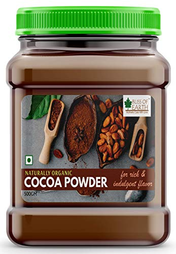 Bliss of Earth 500gm Naturally Organic Dark Cocoa Powder for Chocolate Cake Making & Chocolate Hot Milk Shake, Unsweetened