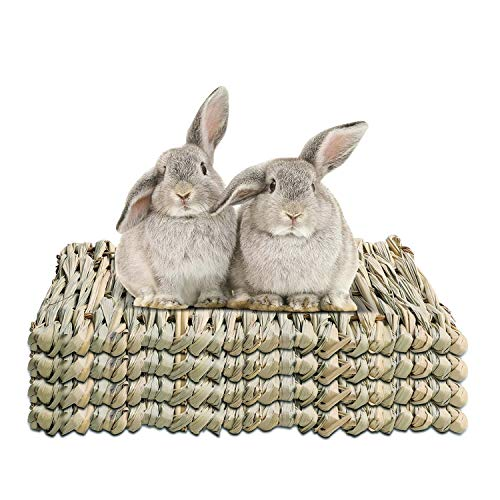 WUHOSTAM 4 Pack 7.8 x 11.8 Inches Grass Mat for Rabbits Natural Reed Hay Woven Bed Mat for Sleeping,...