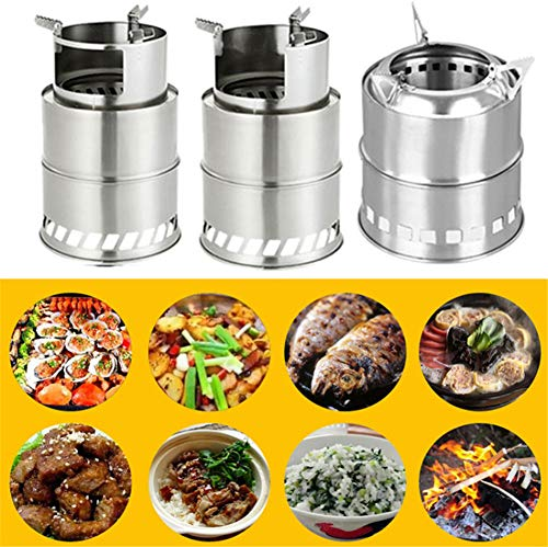 Sale!! Camping Stove Stainless Steel Lightweight Wood Alcohol Burner Cooking Picnic Bbq Windproof Fo...