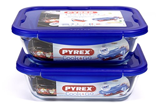 Pyrex Rectangle Cook & Go 2pc Set 3.3 Litre- Rectangular Container with Lid 100% Airtight, Food Container, Suitable for Oven, Microwave and 30 x 23 cm, 3.3 L